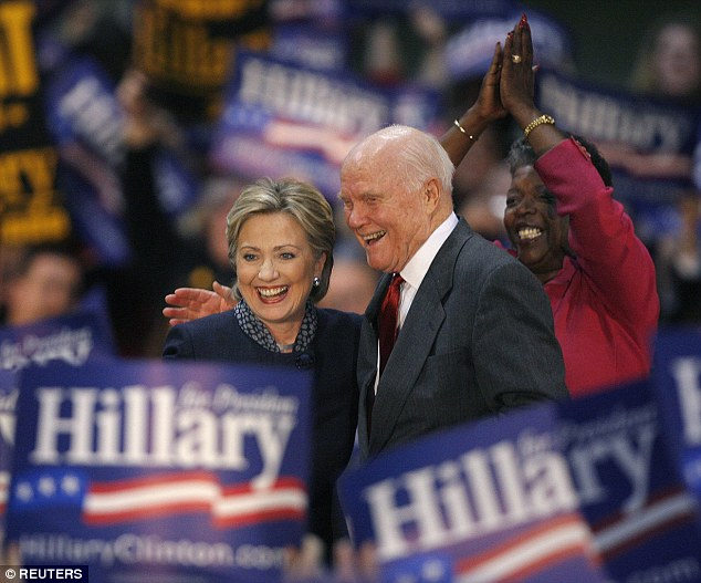 Glenn continued to be active in politics even after stepping down from the Senate, and supported Hillary Clinton in her 2008 bid for the White House (above)