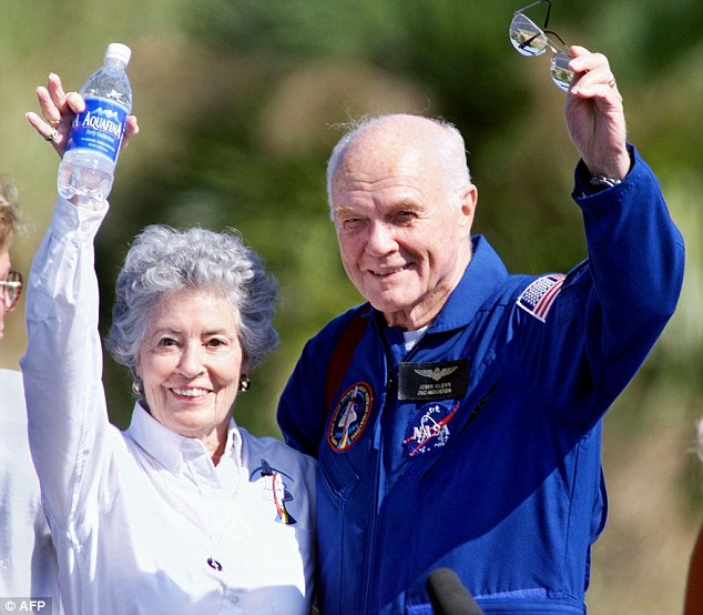Glenn and his wife Annie remained active in the American space program even in their later years, seen above at the Kennedy Space Center before the crew of the Shuttle Discovery prepared to fly to Johnson Space Center in Houston before he went into space in 1998 (above)
