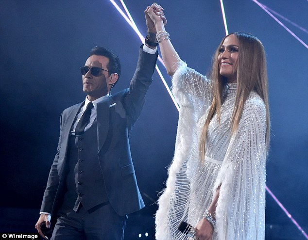 Amicable exes: The singer and actress performed with her ex-husband Marc Anthony, Max and Emme's father, at the Latin Grammy Awards last month - and they even shared a kiss