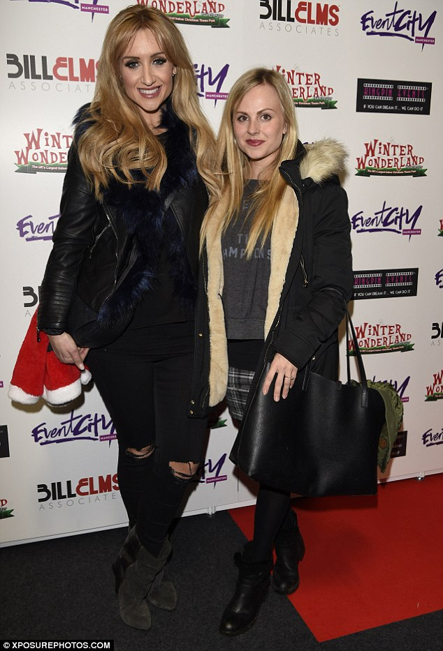 Beautiful blondes: She also chatted to pal Tina O'Brien, perhaps about the upcoming Coronation Street storylines for Christmas which she described as 'heartbreaking' recently