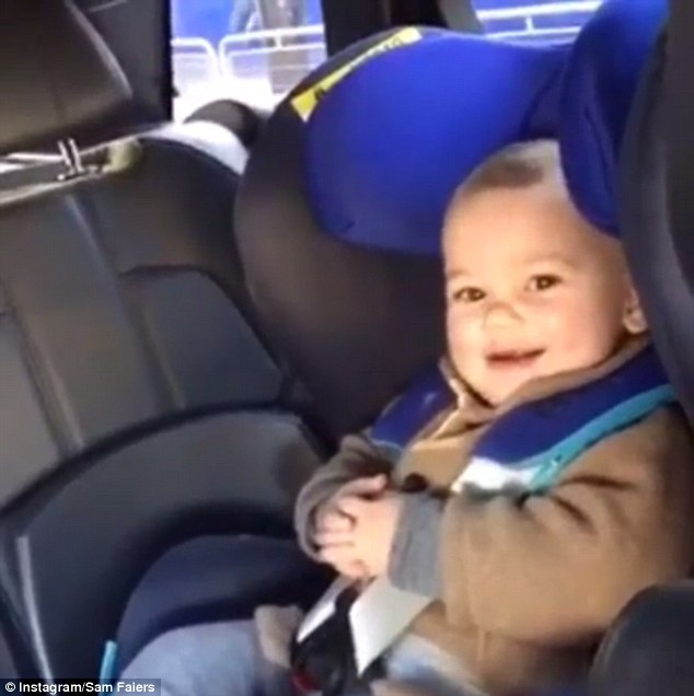 The youngster was pictured in aCybex Sirona car seat which swivels between the front and rear facing positions to help parents get their youngsters in and out of the vehicle with ease