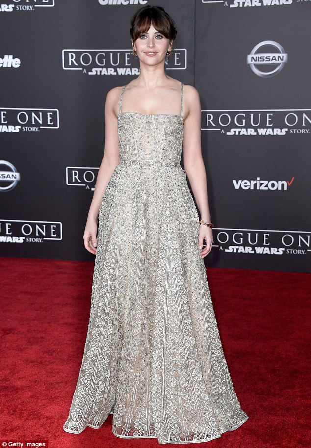 Felicity Jones cut a ladylike figure as she attended the world premiere for the highly-anticipated Rogue One: A Star Wars Story in Hollywood on Saturday