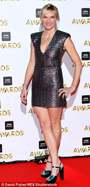 Leggy ladies: Jo Whiley (L) and Katie Piper (R) both flashed some skin in shorter mini dresses