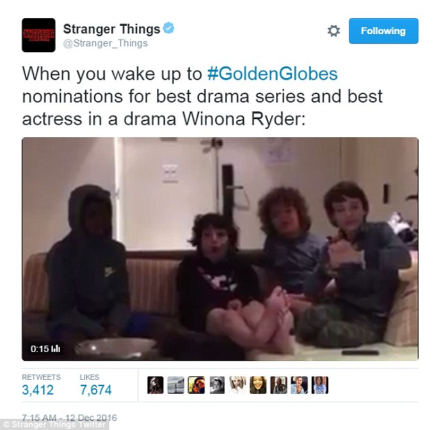 Shock and ahhh: The cast of Stranger Things shared this note from a sofa
