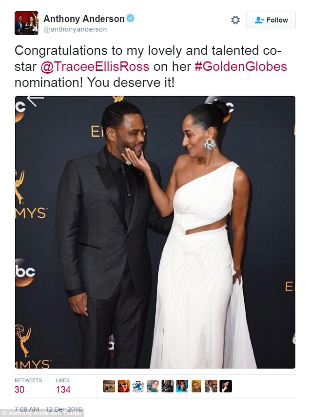 Sweet note: Anthony Anderson congratulated Tracee Ellis Ross on her nod for black-ish