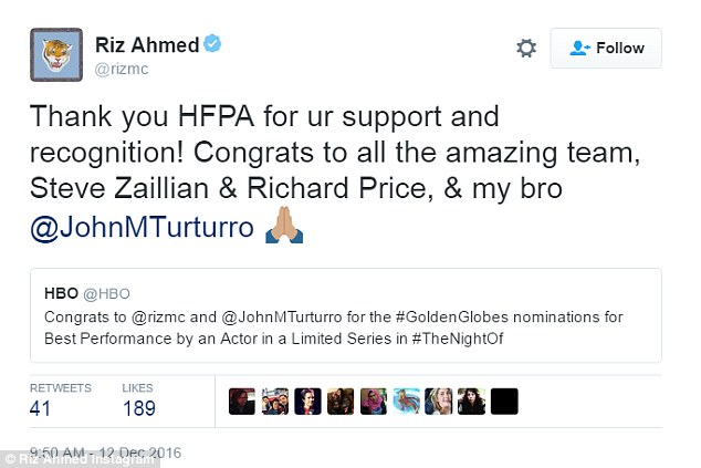 Nice shout out: Roz Ahmed wrote, 'Thank you HFPA for ur support and recognition! Congrats to all the amazing team, Steve Zaillian & Richard Price, & my bro @JohnMTurturro'