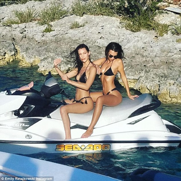 Utter perfection: The Sports Illustrated Swimsuit issue star showed off her curves in another sizzling shot - this time posing with fellow brunette Bella Hadid