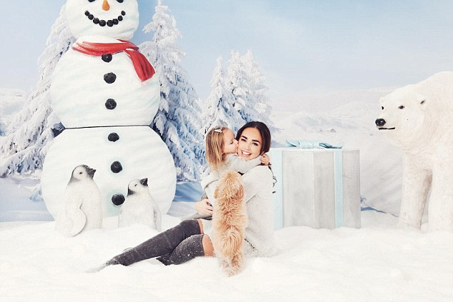 Sweet: Tamara Ecclestone and her two-year-old daughter Sophia embraced the festive spirit even further with a Christmas-themed photoshoot