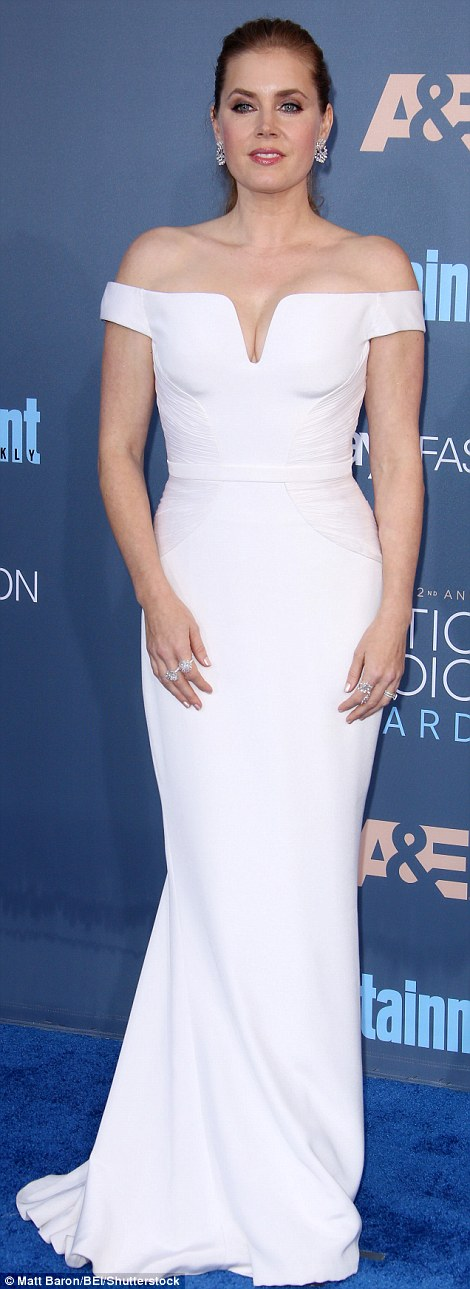 Oscar-worthy look: Best actress nominee Amy Adams was the epitome of Hollywood glamour in a white off-the-shoulder Atelier Versace gown