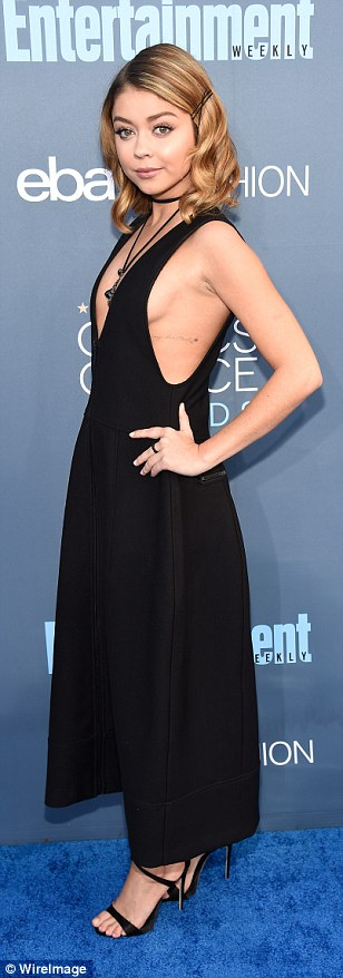 Mid-length mavens:Katheryn Winnick, Felicity Huffman andSarah Hyland looked stylish in monochrome numbers