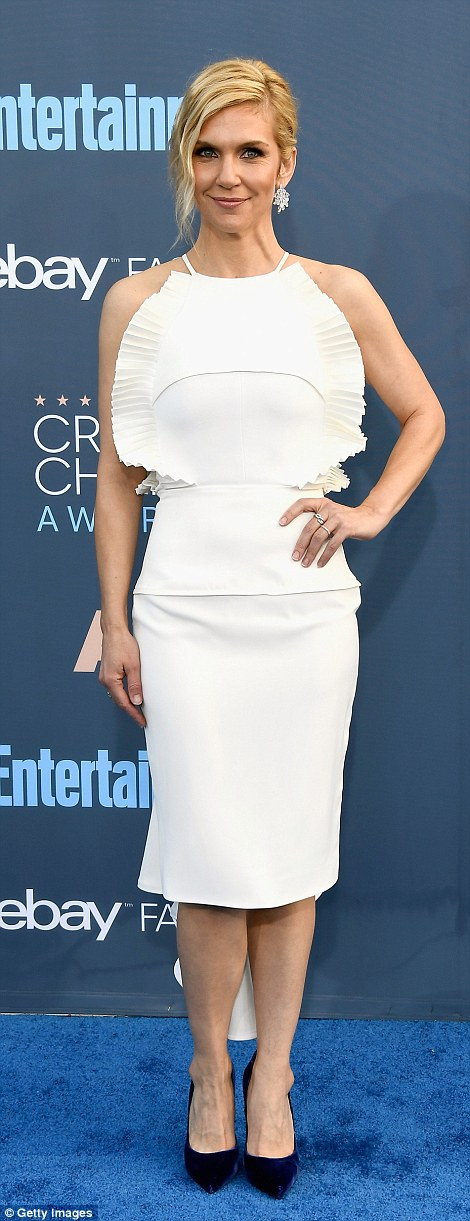 Nailed it: Rhea Seehorn andSarah Paulson (wearing Vera Wang) were super chic in white pencil two-pieces
