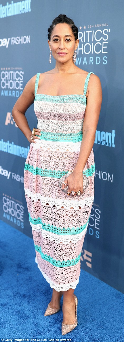 Pretty in pastels: Tracee Ellis Ross opted for a colourful striped number and glittery heels whileLinda Cardellini opted for a flirty mini dress