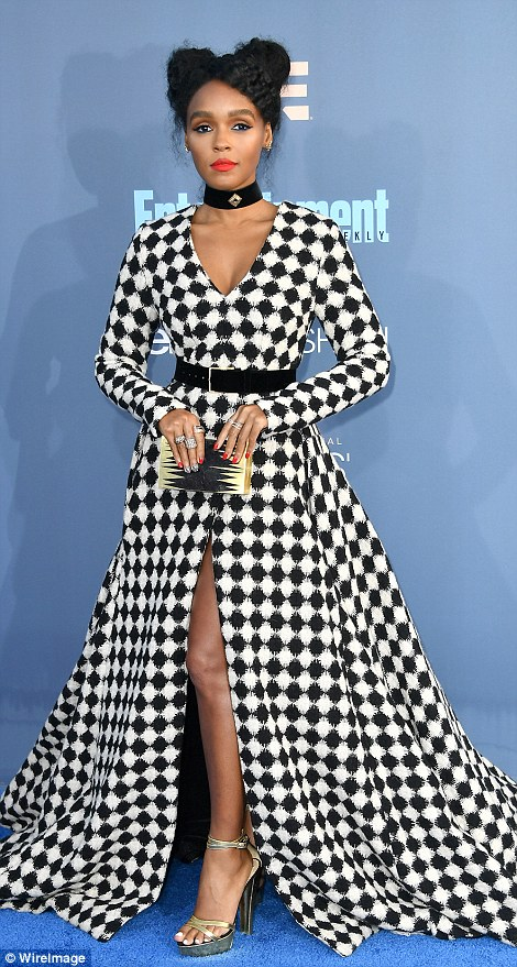 Bold in black and white: Lisa Bonet and Janelle Monae opted for striking patterns