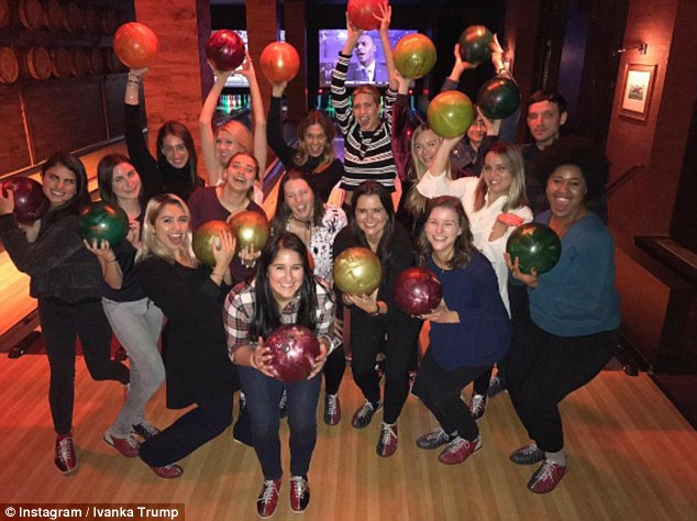 Great boss: The mother-of-three spent Thursday night bowling with 'Team Ivanka' at Bowlmor Lanes