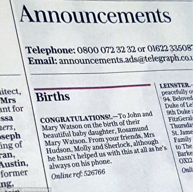 Congratulations! Bosses were also keen to follow the trailer with a more novel piece of advertising, as they revealed the name of the Watson's baby in Monday's The Daily Telegraph
