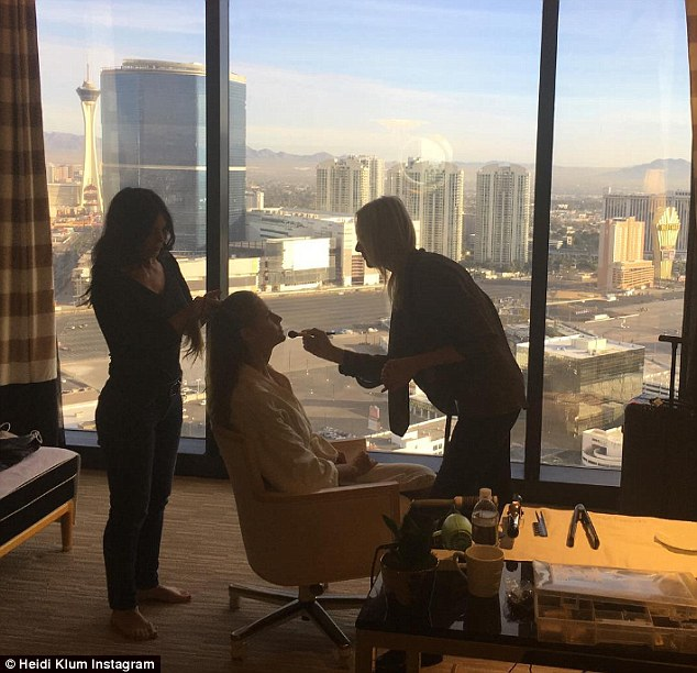 'Good morning Vegas': It seems Heidi was headed to Las Vegas as she shared an Instagram snap on Monday showing her in a room with a beautiful view of the Strip as make-up artist Linda Hay and hair stylist Wendy Iles prepped her for her day