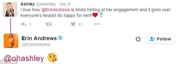 Wink wink: Andrewsalso sent a kissing emoji to someone who tweeted: 'I love how @ErinAndrews is kinda hinting at her engagement and it goes over everyone's heads! So happy for her!!'