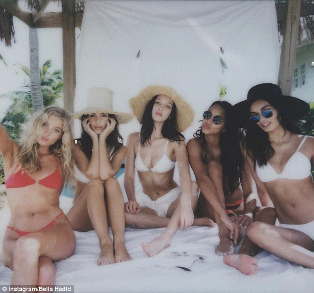 It's a secret! It's not clear what Elsa and her glamorous pals are doing in The Bahamas, but it's thought the group could be shooting a Victoria's Secret Swim Special