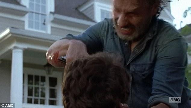 Ending it: Rick stabbed Spencer after he turned into a walker