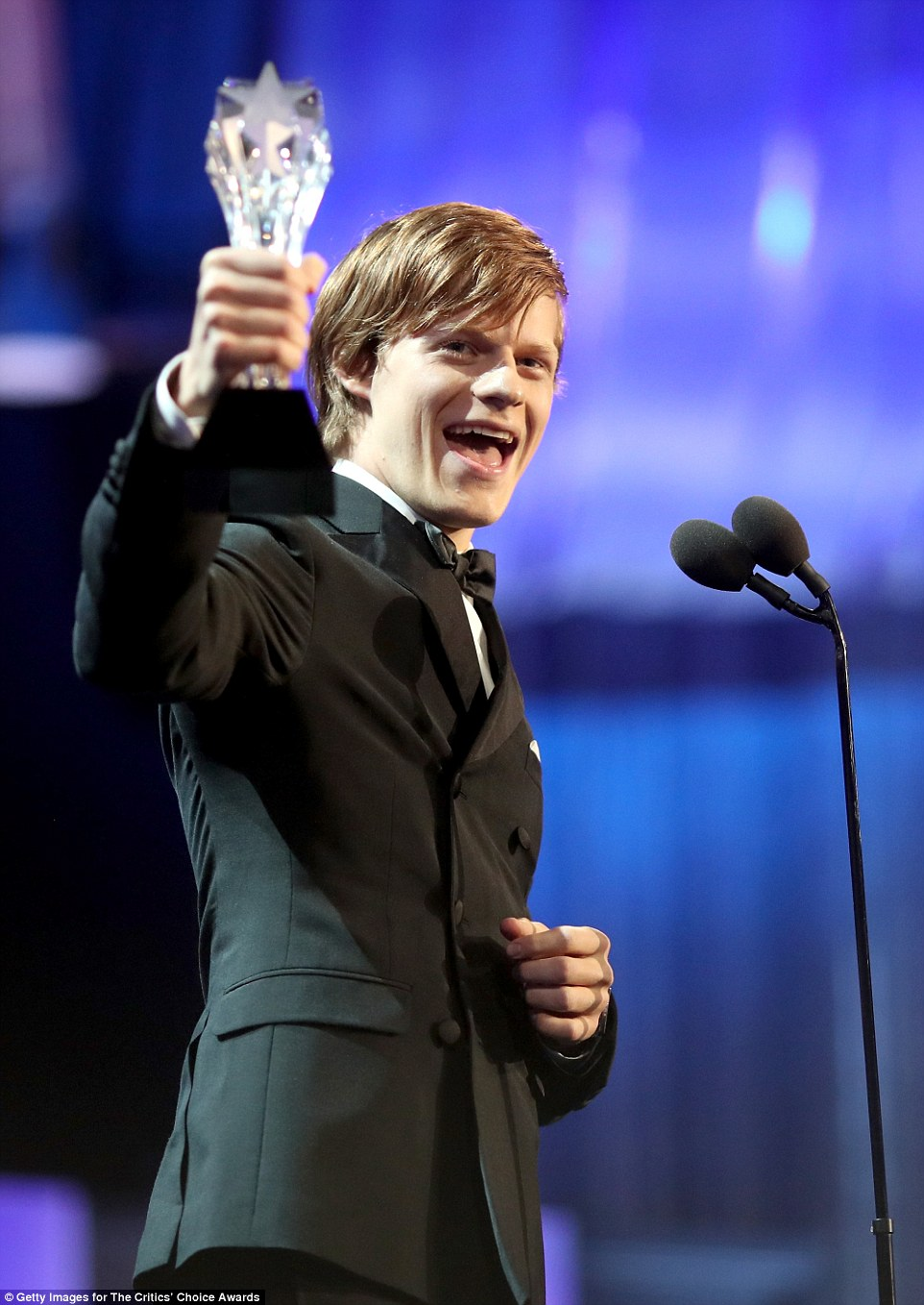 Quite the future ahead of him:Lucas Hedges accepted the Best Younger Actor award