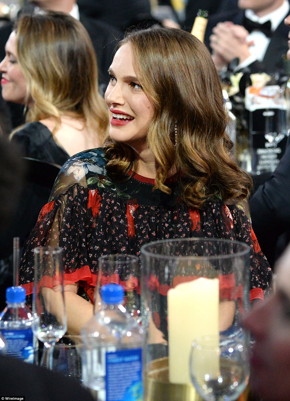 Having a blast: Natalie Portman portrayed the former Fist Lady in the film Jackie as she had a laugh during the gag