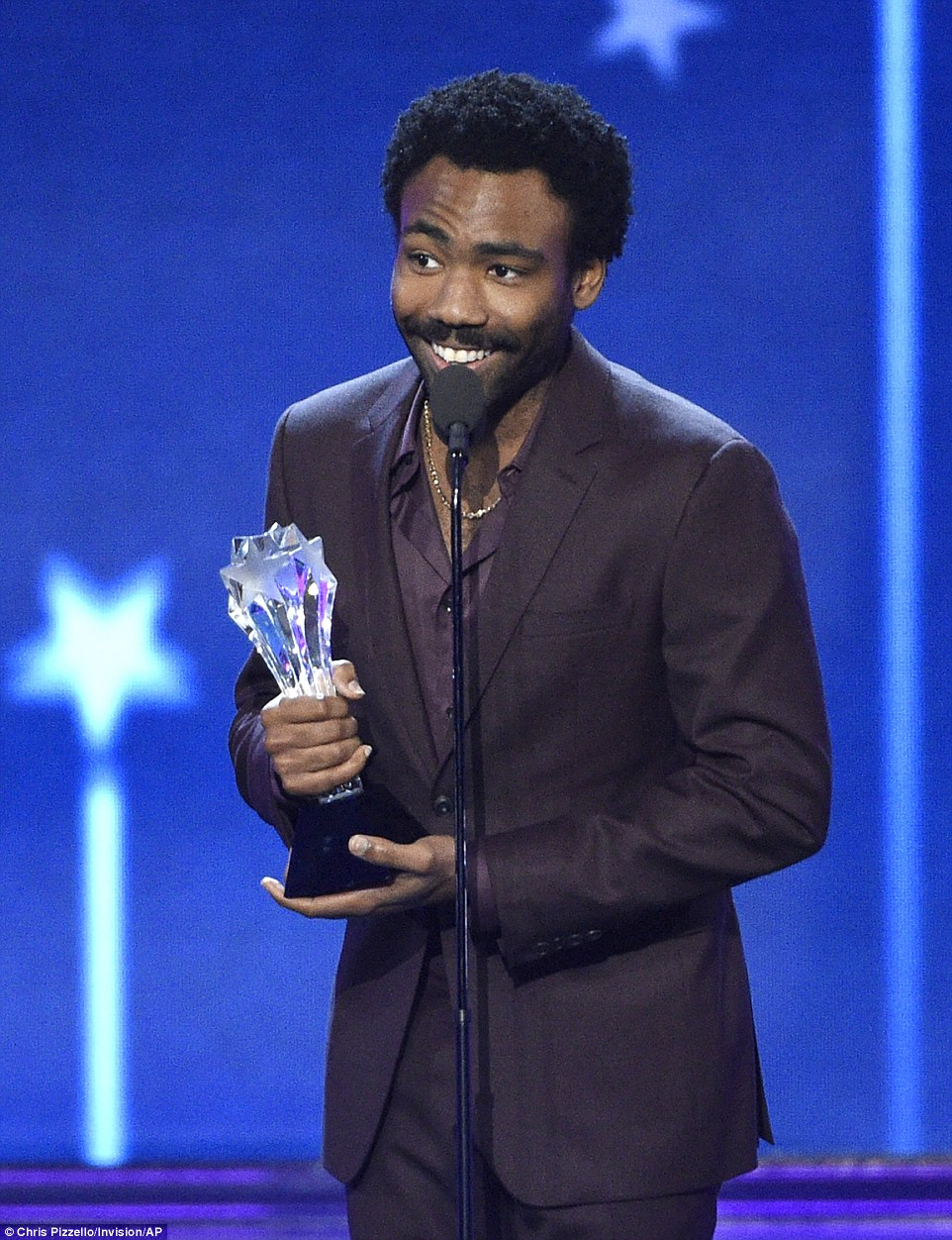 Honored: The 33-year-old actor accepted the gong for Best Actor in a Comedy Series as he said: 'Thank you guys so much I really was not expecting this because the category had so many actors I admire'