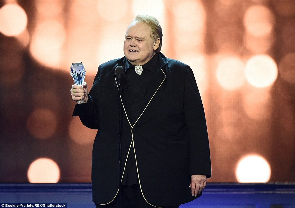 Transformative performance: Louie Anderson took home the Best Supporting Actor in a Comedy prize for his role in Baskets
