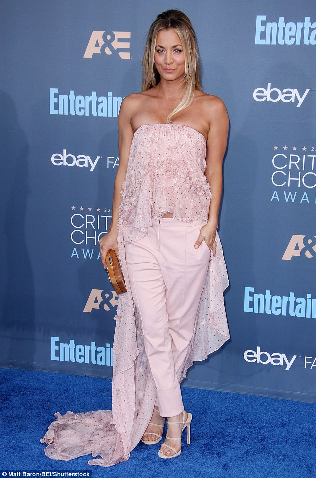 Pink imperfection:Whatever Kaley's big theory to break away from the tradition red carpet gowns was, it did not prove successful