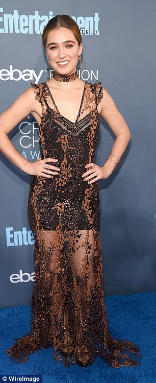 Not a podium finish:The Bronze star Haley Lu Richardson wore a sheer nude dress that has been the go-to look of late but her decision to wear a mismatched black slip under the gown certainly did not win her fashion gold
