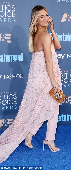 Floor-length: Kaley Cuoco turned up the glamour in a glitter-encrusted pale pink ensemble