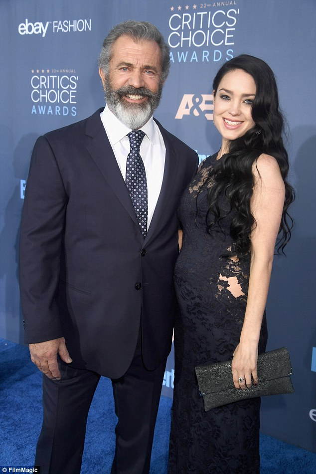 All smiles: 60-year-old Mel and his pregnant 26-year-old girlfriend Rosalind Ross posed on the red carpet at the Critics' Choice Awards in Los Angeles on Sunday night