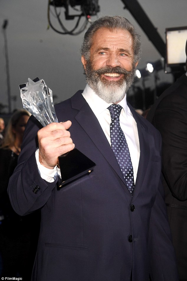 Back in Hollywood's inner-circle: Mel won Best Action Film for Hacksaw Ridge at The Critics Choice Awards on Sunday night