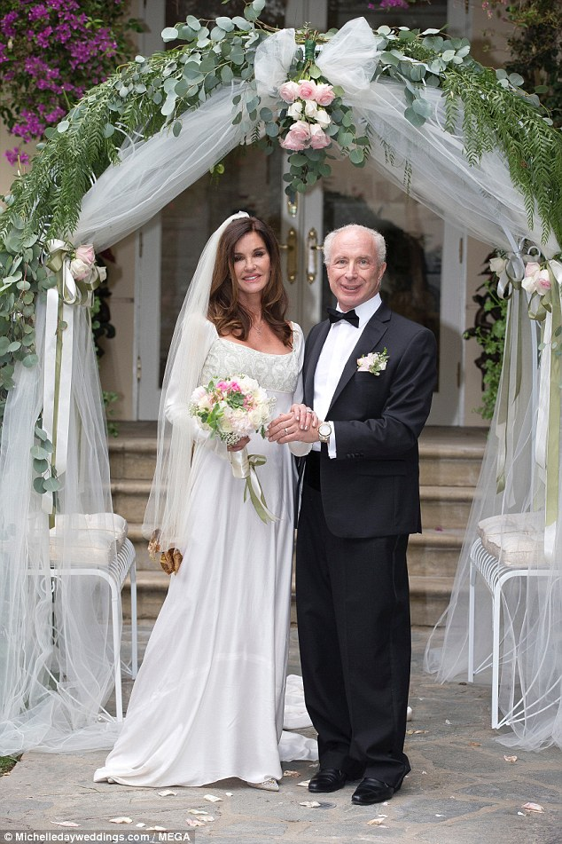 Emotional: The former America's Top Model judge broke down in tears as she said her vows, while also thanking wedding guest Dr Drew for helping get her sober