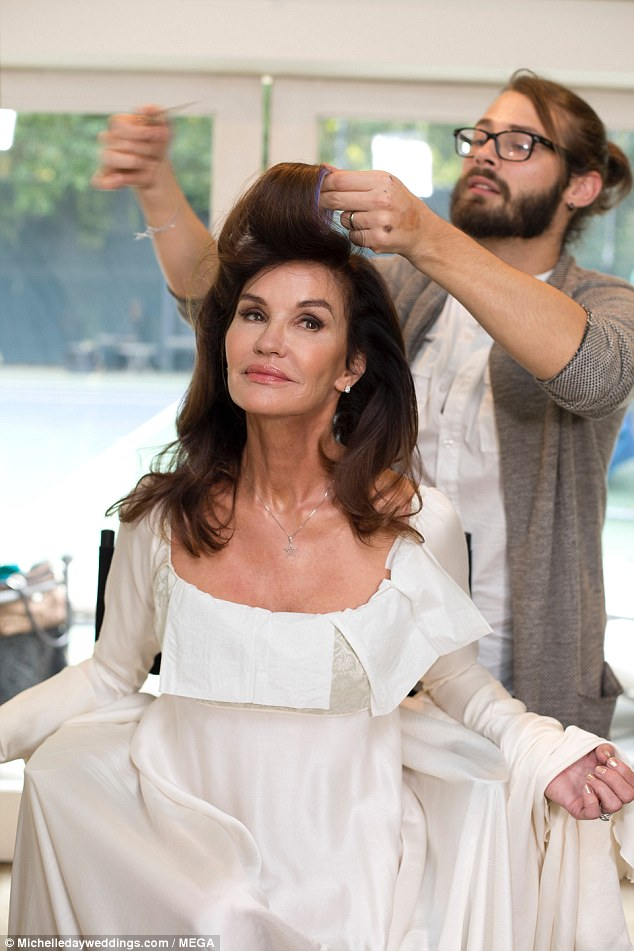 Hair today: The supermodel showed images getting preened before the ceremony
