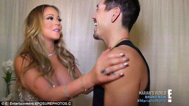 We got this! Mariah looked as though she was giving her backing dancer a pep talk