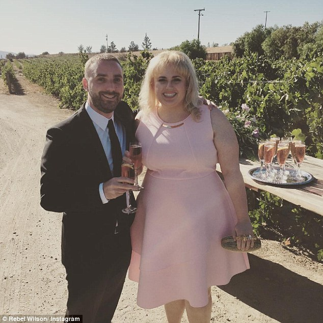 Shrinking: The voluptuous actress first showcased her skinnier frame at the wedding of her Pitch Perfect co-stars Anna Camp and Skylar Astin