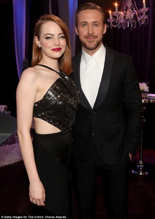 Lovely pair: But he had the last laugh when he posed up with his lovely co-star Emma Stone