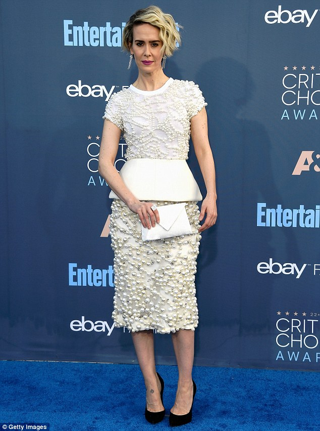 Such a glamorous look: Sarah Paulson wowed in a white beaded dress for the Critics' Choice Awards on Sunday in Santa Monica