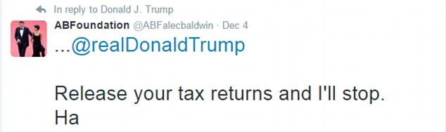 Alec Baldwin, tweeting under his foundation's account, challenged the president-elect to release his tax returns in response