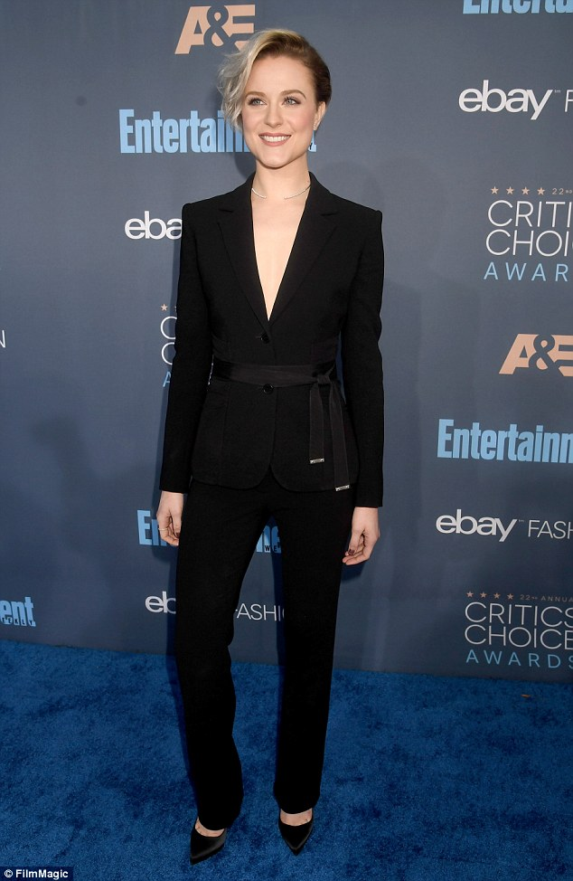 All black: The actress wore aAltuzarra suit tied at the waist and satin pumps