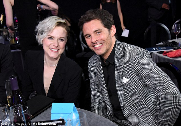 Glitzy affair: Evan posed with Westworld co-star James Marsden at the event