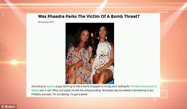 Media reports: The bomb threat made the news and prompted Phaedra to respond