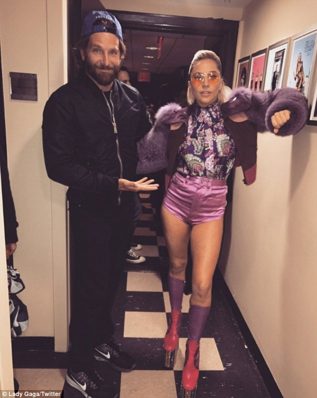 Backstage at SNL: On Saturday, Lady Gaga reunited with Bradley Cooper at his Brentwood home to discuss their Warner Bros. remake of A Star is Born (pictured October 22)