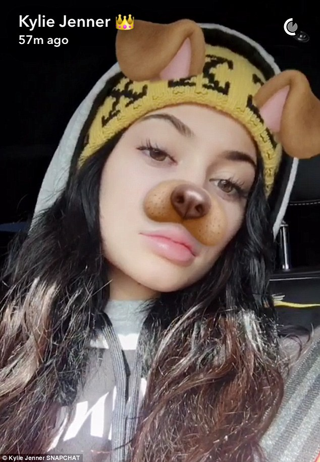 Going to the dogs: She also played around with doggie Snapchat filters