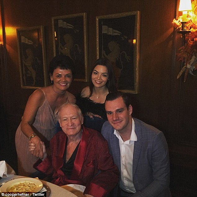 Family: Hefner has not appeared in public since May, but was seen in a Thanksgiving photo posted by his son Cooper (Hefner and son Cooper with Cooper's fiancee Scarlett Byrne and a friend)