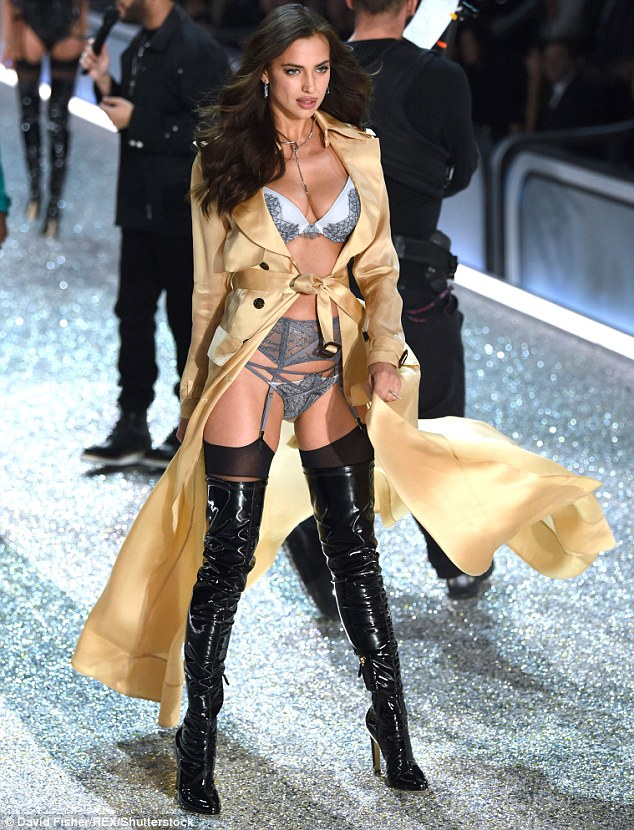 Leggy lady: Irina looked her usual slender self when she walked for the Victoria's Secret Fashion Show in Paris on November 30