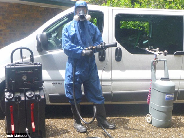 A crime scene clearner, from Josh Marden's forensic cleaners, ready to clean up a mess