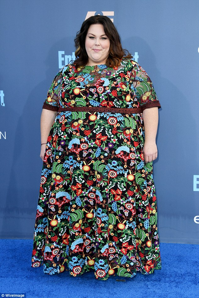 Showstopper: This Is Us star Chrissy Metz showed up for the Critics' Choice Awards Sunday in a vibrant and colorful gown