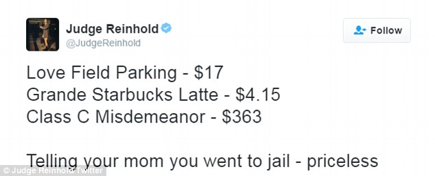Judge Reinhold made his own version of recent MasterCard commercials, stating that telling his mother he went to jail was priceless