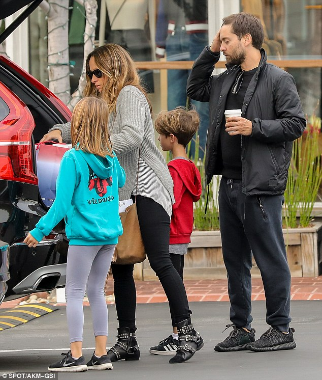 Laid back: The 41-year-old Spider-Man star kept things quite casual in a black shirt, black sweat pants, and what appeared to be a pair of black Yeezy sneakers